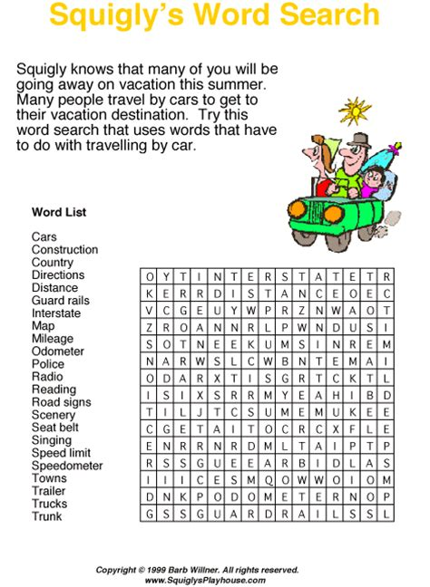 printable road trip word search road trip word search