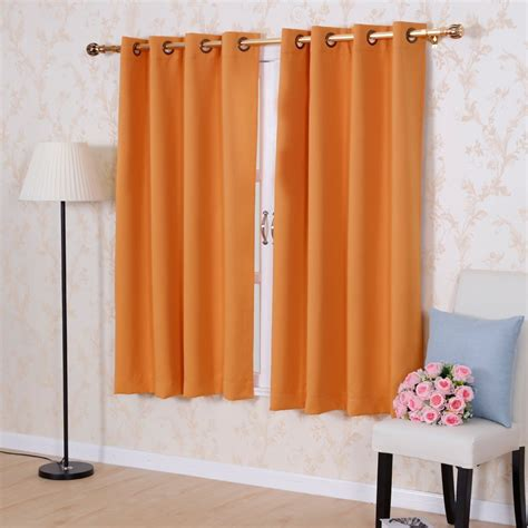 short thermal curtains solid color thermal insulated blackout curtains 8 grommets