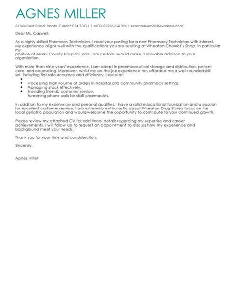 Er Pharmacist Cover Letter by Pharmacy Technician Cover Letter Exles For Healthcare Livecareer