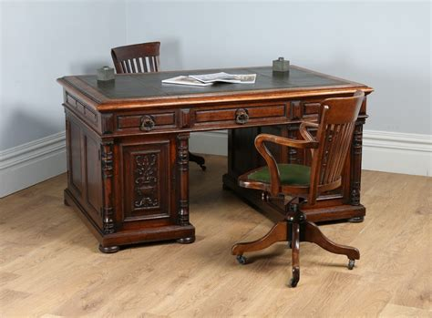Antique Sided Partners Desk by 5ft 2 Oak Leather Carved Sided Partners