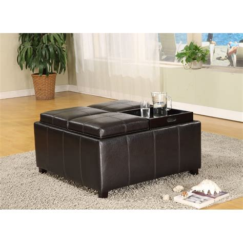 Brown Ottoman With Tray 35 Quot Brown Upholstered Storage Tray Ottoman