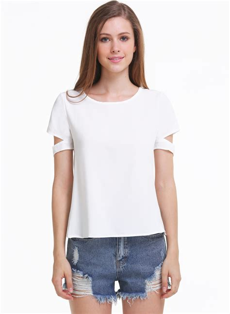 Frii Top Blouse White white sleeve cut out chiffon blouse shein sheinside