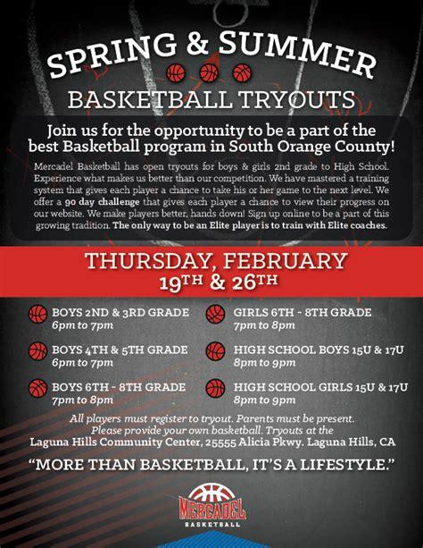 Tryout Mercadel Basketball Orange County Youth Basketball Basketball Tryout Flyer Template