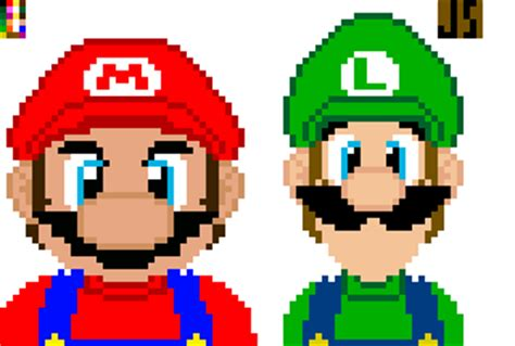 famous characters in pixel art mario and luigi pixel mario and luigi by ai tsuchi knight on deviantart