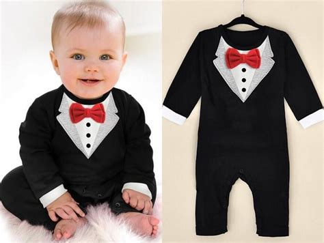 Jumper Suit For Baby Born 1 2018 2017 new born boy baby formal suit tuxedo romper jumpsuit gentleman clothes for