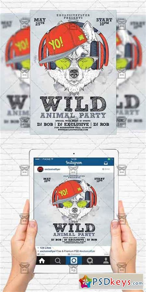 Animal Wild Party Flyer Template Instagram Size Flyer 187 Free Download Photoshop Vector Stock Instagram Flyer Template
