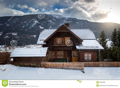 austrian style house plans mountains beauty house in snowy mountain alps editorial image