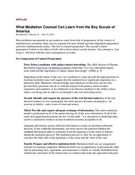 Mediation Briefformat What Mediation Counsel Can Learn From The Boy Scouts Of America Be P