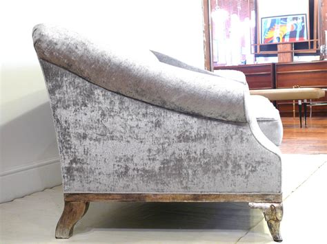 scroll arm sofa scroll arm and silver leaf velvet sofa at 1stdibs