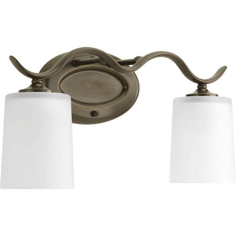 Bronze Vanity Light Fixture Progress Lighting Inspire Collection 2 Light Antique Bronze Vanity Fixture P2019 20 The Home Depot