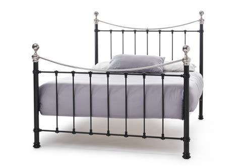 Serene Ethan Black With Nickel 6ft Super King Size Metal Kingsize Metal Bed Frame