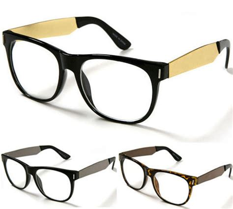new modern wayfarer eye glasses gold metal temples clear