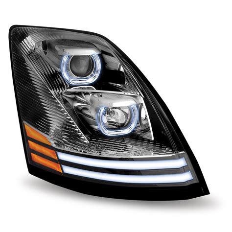 volvo vnl chrome halogen headlight  led passenger side volvo vn vnl headlight