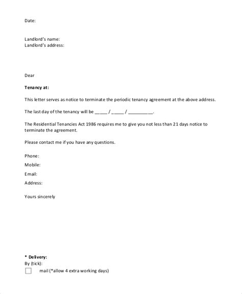 layout notice letter tenancy termination letter template nz mutual