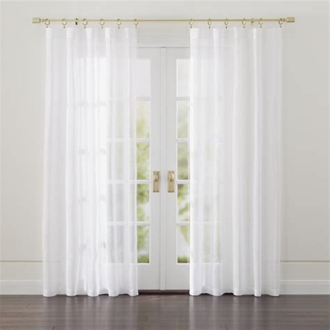 white curtain panels linen sheer white curtains crate and barrel
