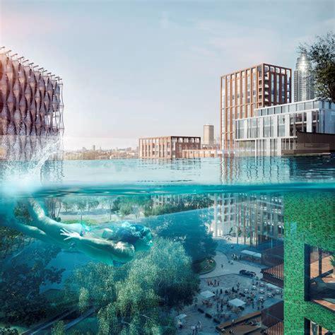 Modern Garden Design sky pool at embassy gardens in london 3 e architect