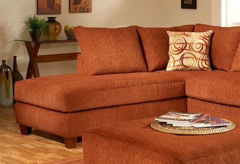 Terracotta Fabric Modern Sectional Sofa W Optional Ottoman