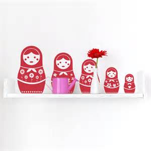 russian doll wall stickers russian dolls wall sticker set spin collective uk