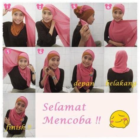 tutorial jilbab segi empat bergambar cara memakai jilbab paris segi empat dua warna cara
