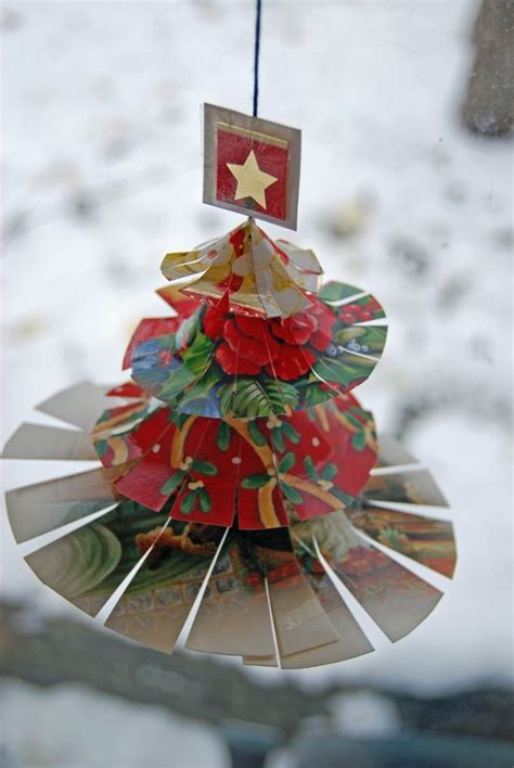 recycled christmas card craft christmas ornaments