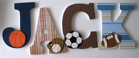 Decorated Wooden Letters For Nursery Custom Decorated Wooden Letters Sports Theme Nursery Bedroom Home D 233 Cor Wall Decorations Wood