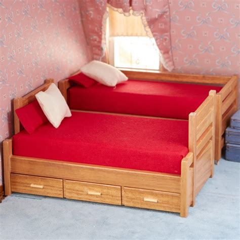Dollhouse Bed Set Dollhouse Miniature Oak Bunk And Trundle Bed Set Bedroom Miniatures Dollhouse Miniatures