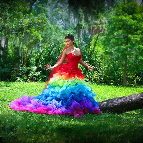 rainbow colored dresses rainbow wedding dresses for modish designers