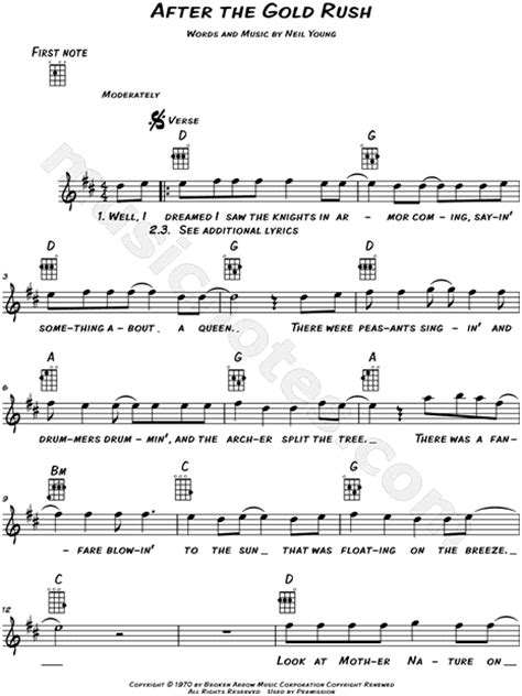 """Neil Young """"After the Gold Rush"""" Sheet Music (Leadsheet"""