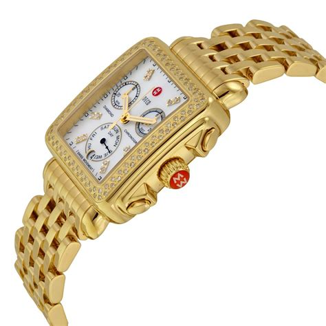 Michele MWW06P000100 Replica, Michele Deco Day Gold tone Diamond Dial Watch MWW06P000100 Watch