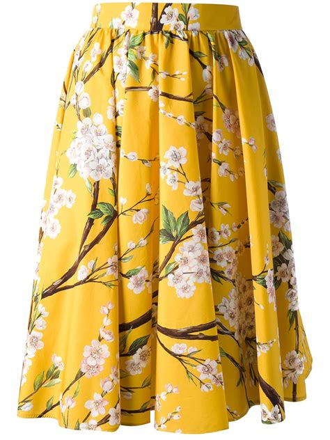 yellow patterned skirt dolce gabbana pleated floral skirt in yellow yellow