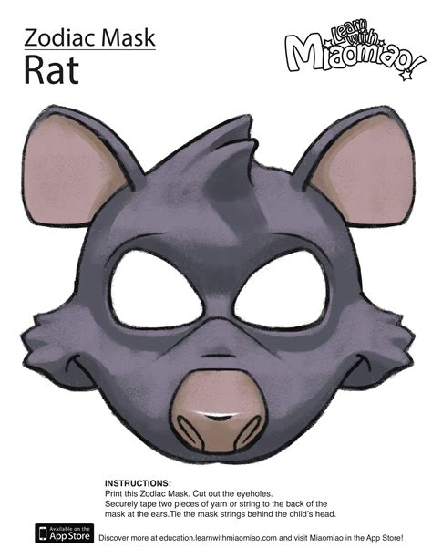new year printable mask zodiac year of the rat mask learn with miaomiao