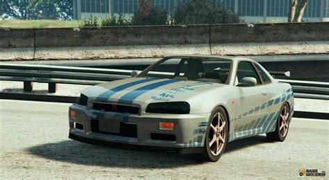 nissan skyline r34 paul walker nissan skyline r34 paul walker 2fast 2furious for gta 5
