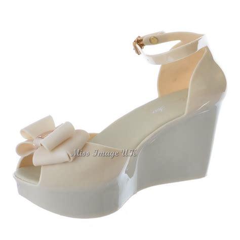 womens retro jelly peep toe high wedge heel bow
