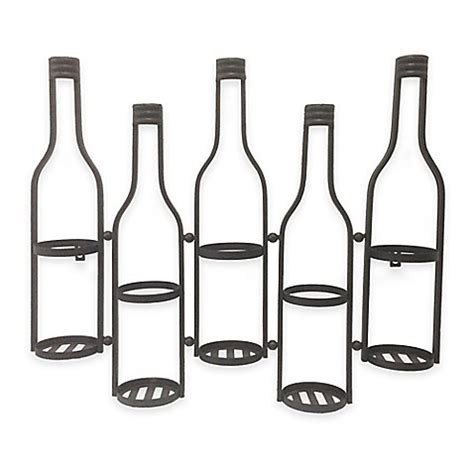 wall mounted wine bottle holder wall mounted metal wine bottle holder in black bed bath