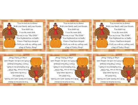 printable turkey poop poem turkey poop printable bag topper for thanksgiving dinner