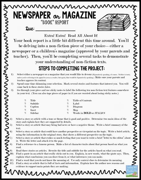 newspaper book report newspaper book report template