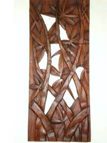 bamboo leaves wall panel hanging wood carving