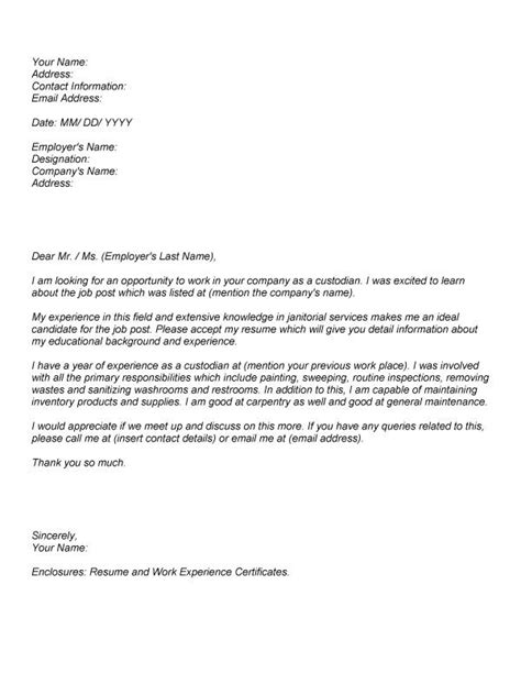 Recommendation Letter Janitorial Position Custodian Cover Letter Sle The Best Letter Sle