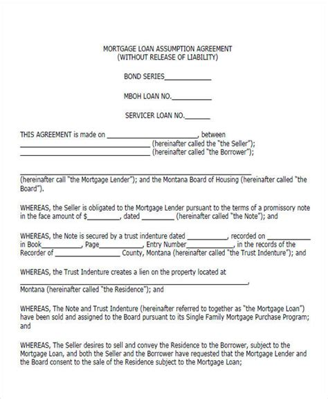 mortgage assumption agreement template 44 printable agreement forms