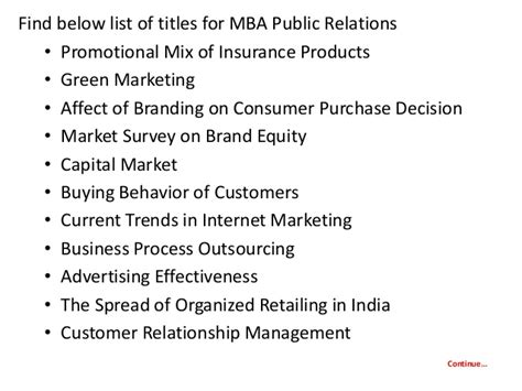 Mba Relations by Project Report Titles For Mba In Relations