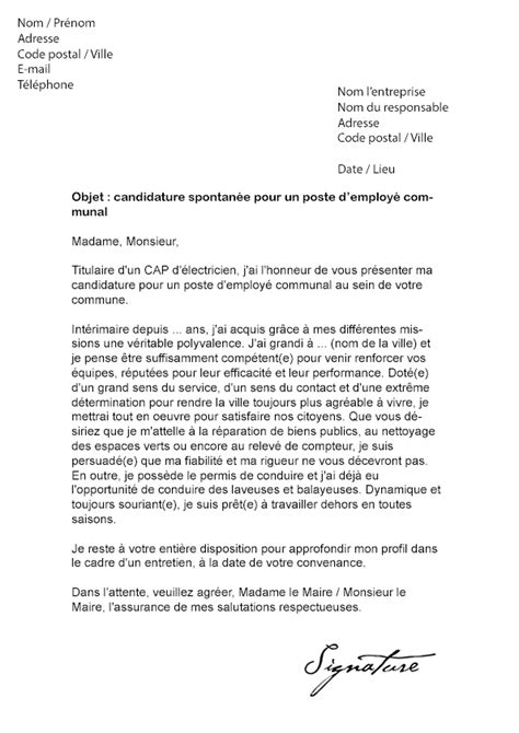 Lettre De Motivation Candidature Spontanée A La Mairie Lettre De Motivation Employ 233 Communal Mod 232 Le De Lettre