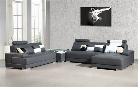 leather sectional with ottoman phantom contemporary grey leather sectional sofa w ottoman