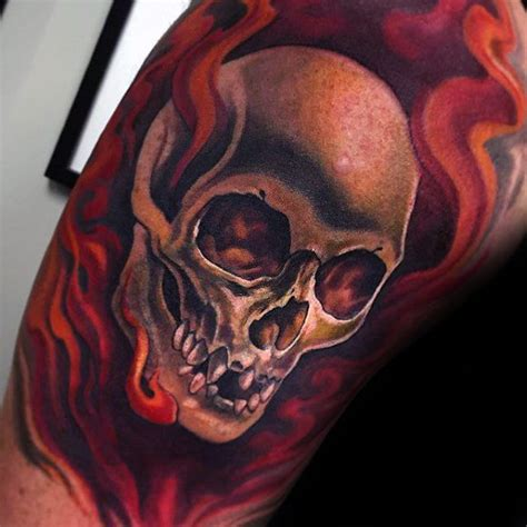 62 Great Flaming Skull Tattoos And Ideas Golfian Com Flaming Skull Tattoos