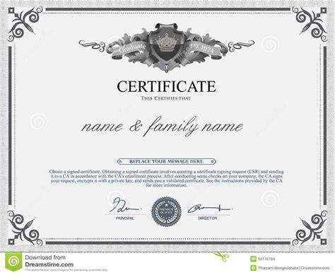 certificate design template stock vector image 50116794