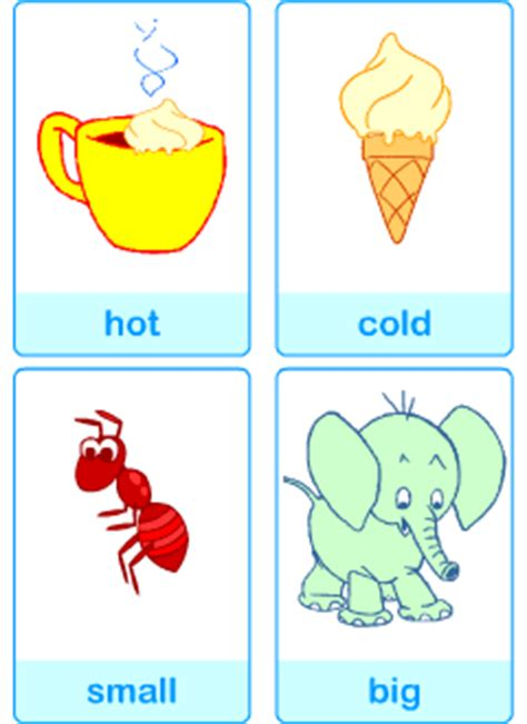 printable opposite cards for preschool opposites in english printable resources
