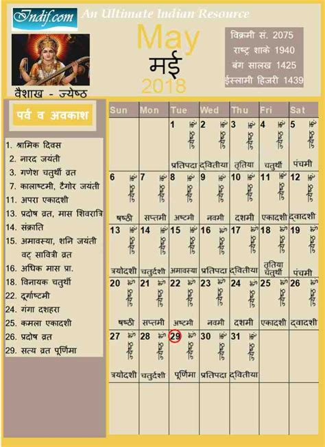 2018 Hindu Calendar May 2018 Indian Calendar Hindu Calendar