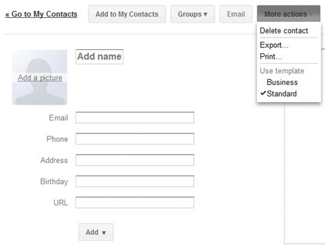 templates for google contacts