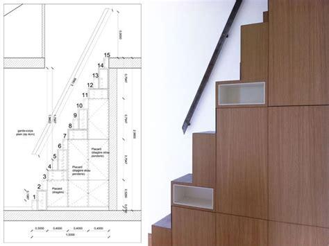 Bibliotheque Escalier 294 a pas japonais avec rangements imbriqu 233 s escalier