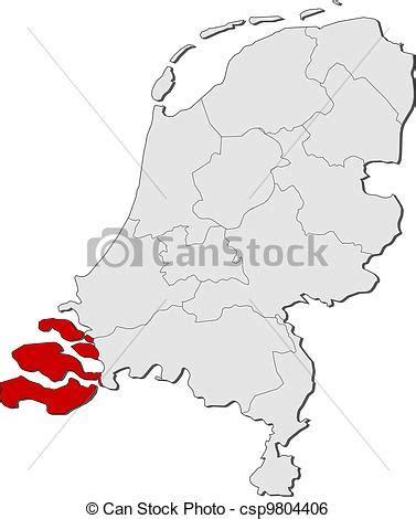 netherlands map dwg clip vector of map of netherlands zeeland highlighted