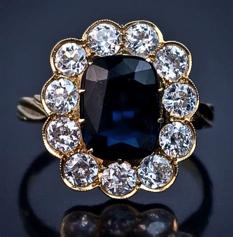 antique sapphire and engagement ring from